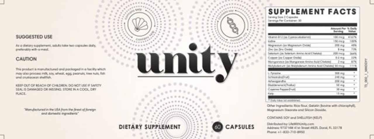 unity ingredients